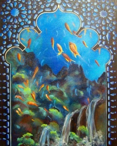 """UNDERSEA PALACE WINDOW""  BY WISE OWL KATHLEEN GRAY -  WWW.KATHLEENGRAY.COM"